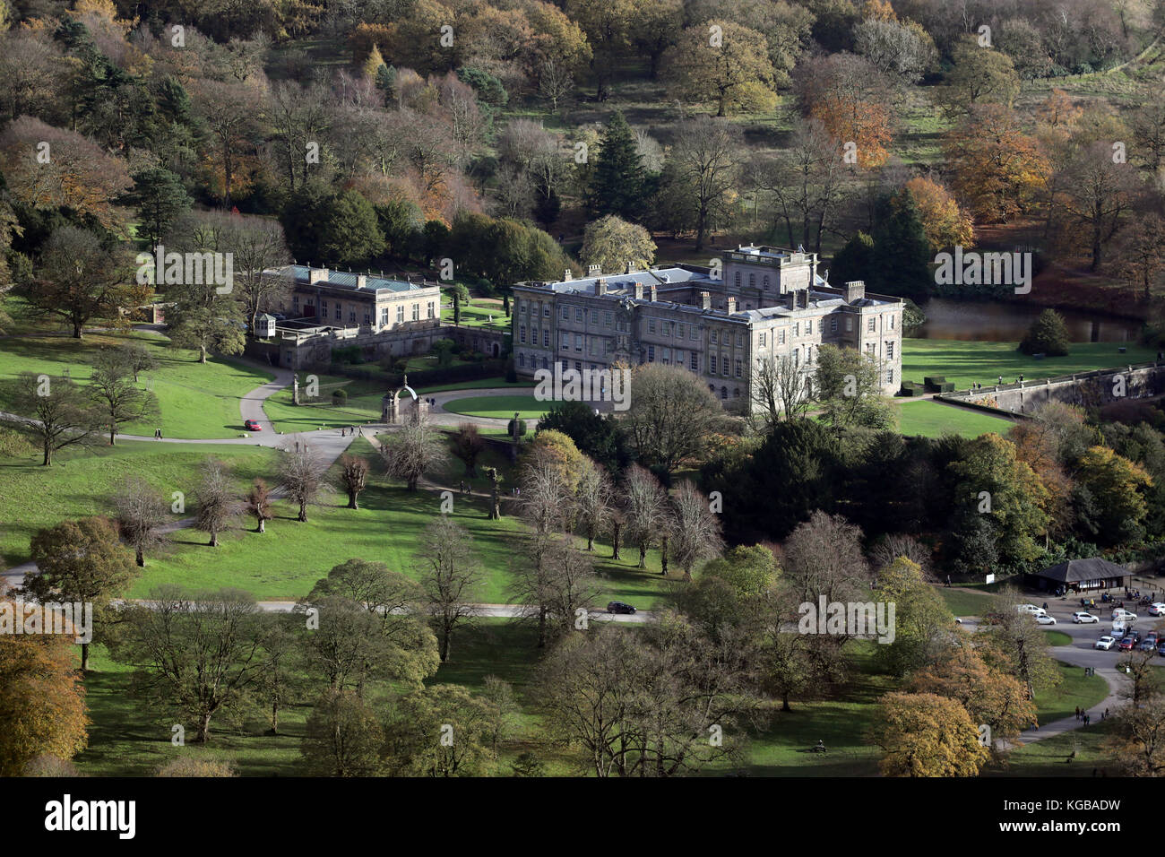 aerial view (from over 1500') of Lyme Park, used as Pemberley in TV's Pride and Prejudice, Disley, Stockport, - Stock Image