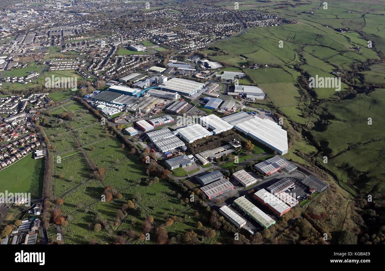 aerial view of Farrington Close industrial estate & Orient Business Park, Burnley, UK - Stock Image