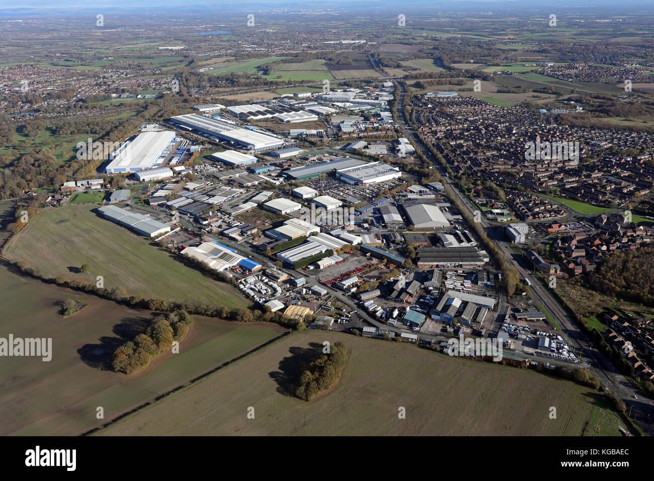 aerial view of Haydock Lane & Haydock Cross Industrial Estates, St Helens, UK - Stock Image