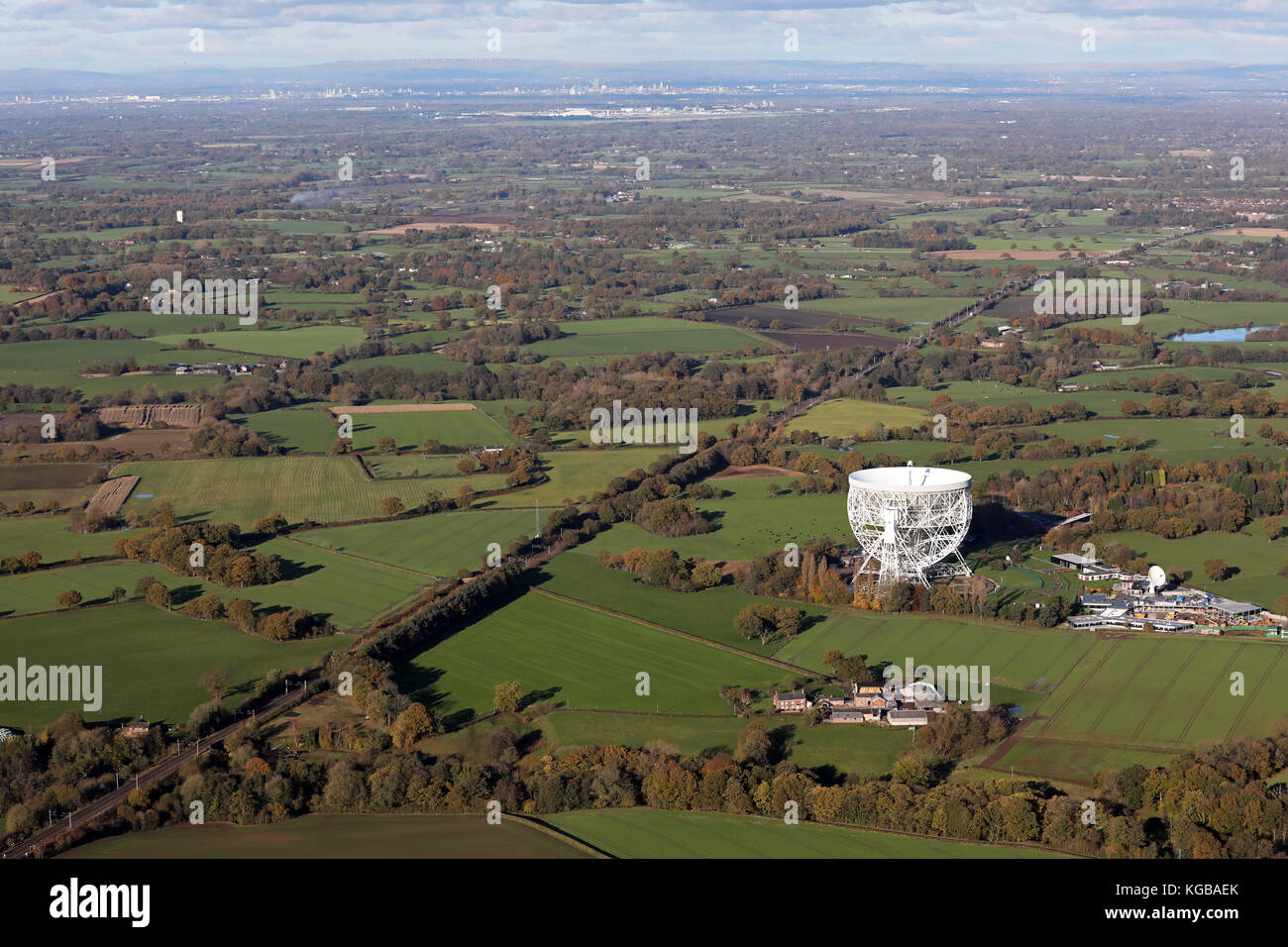aerial view of Jodrell Bank in Cheshire, UK Stock Photo