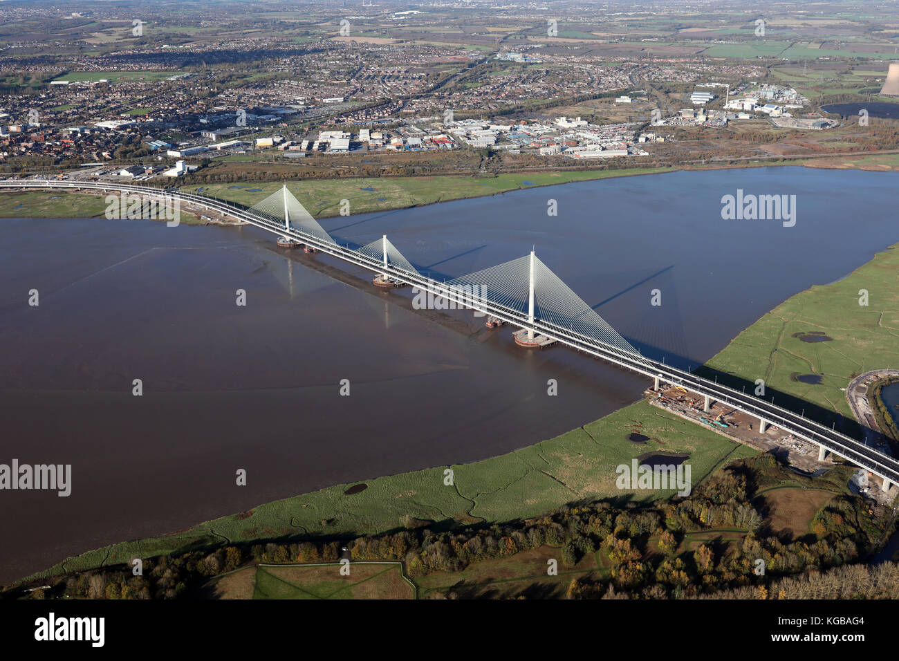 aerial view of the new Mersey Gateway linking Widnes & Runcorn, Cheshire, UK - Stock Image