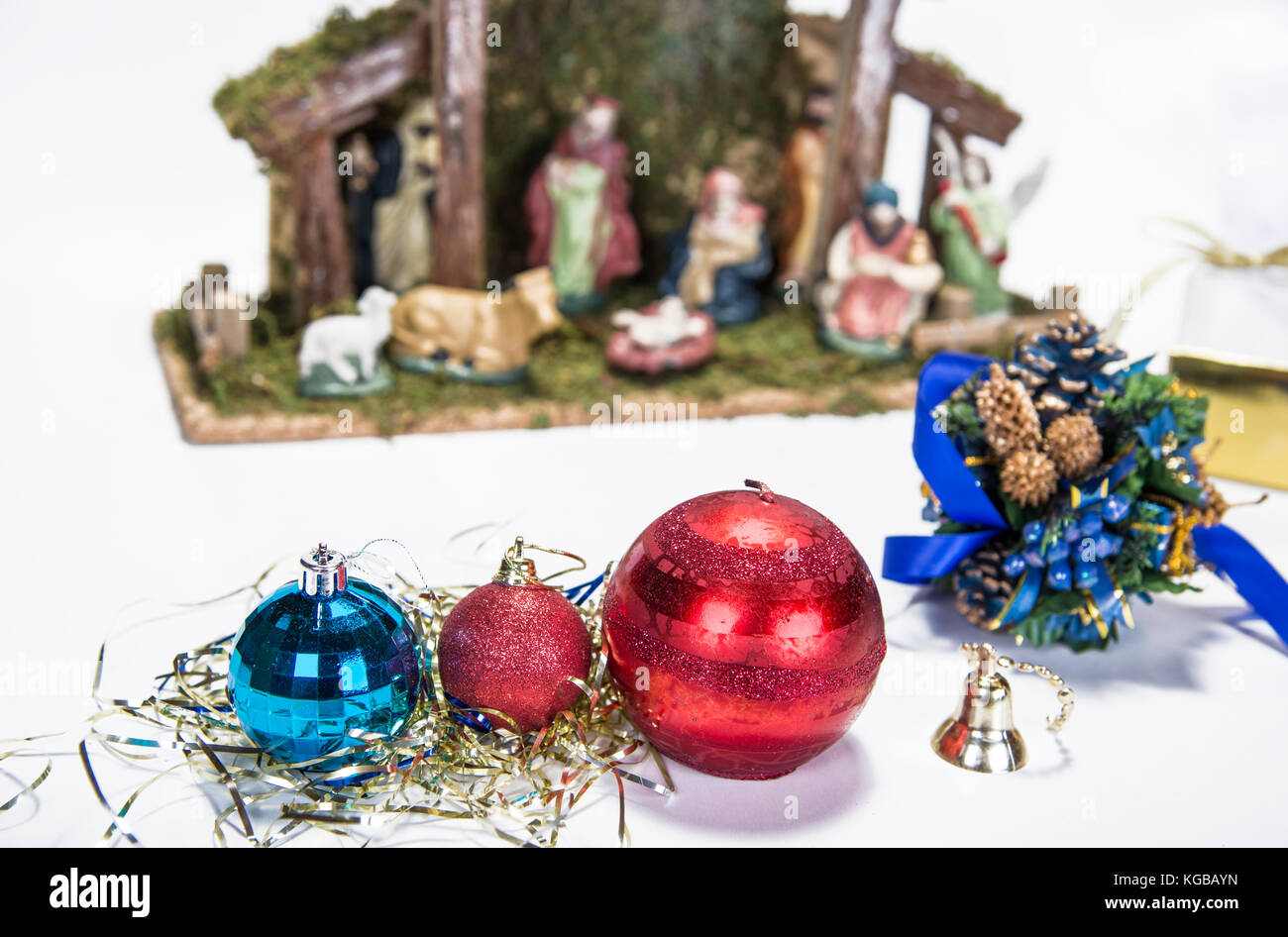 christmas background with decorations bells ribbon and balls on white stock image