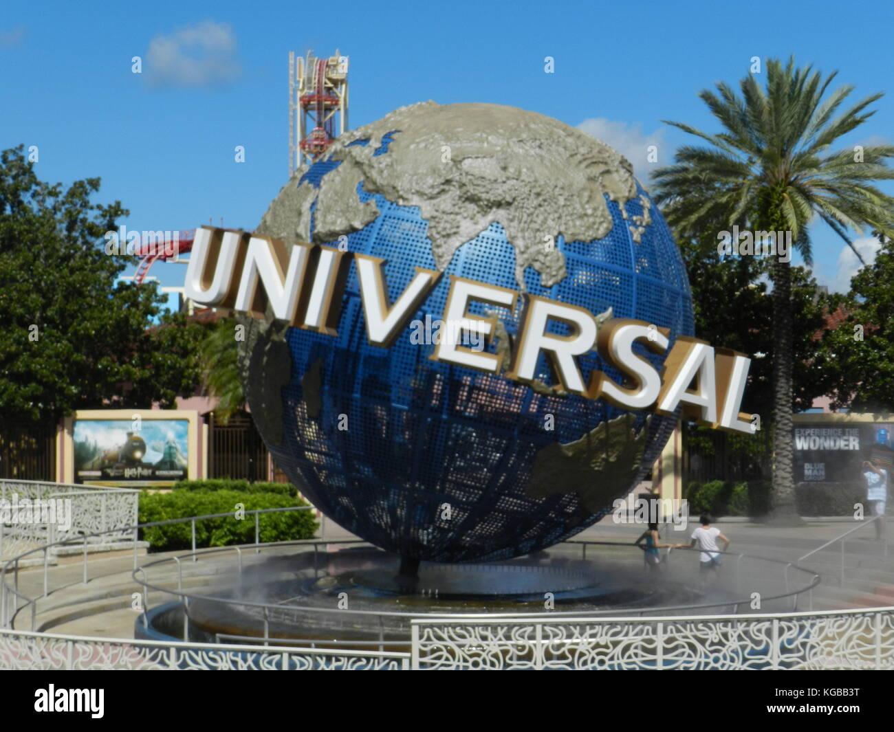 Large globe at Universal Studios, Orlando,Florida - Stock Image