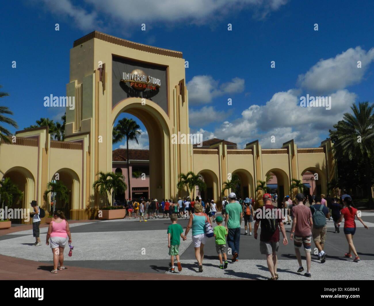 Universal Studios, theme park entrance, Orlando,Florida - Stock Image