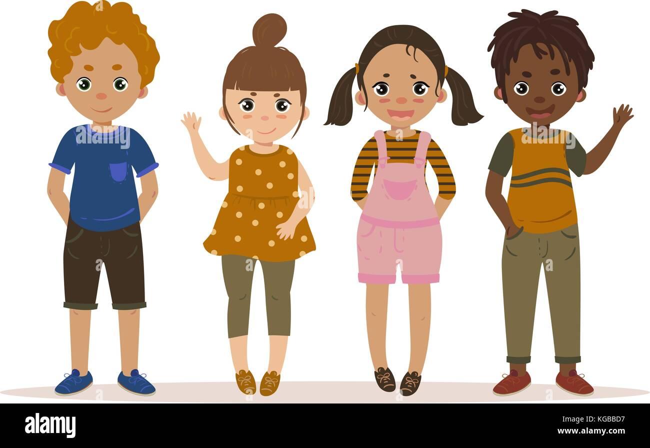a164e9c6e Boys and Girls Kid Set Cartoon. Vector Stock Vector Art ...