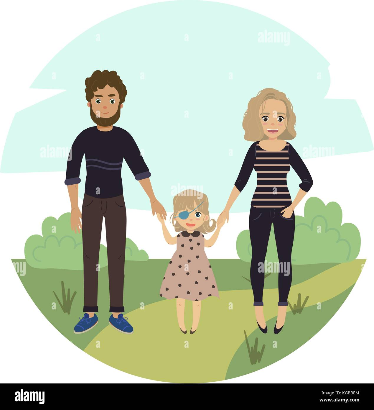 Happy family with disabled girl. Couple and child - Stock Vector