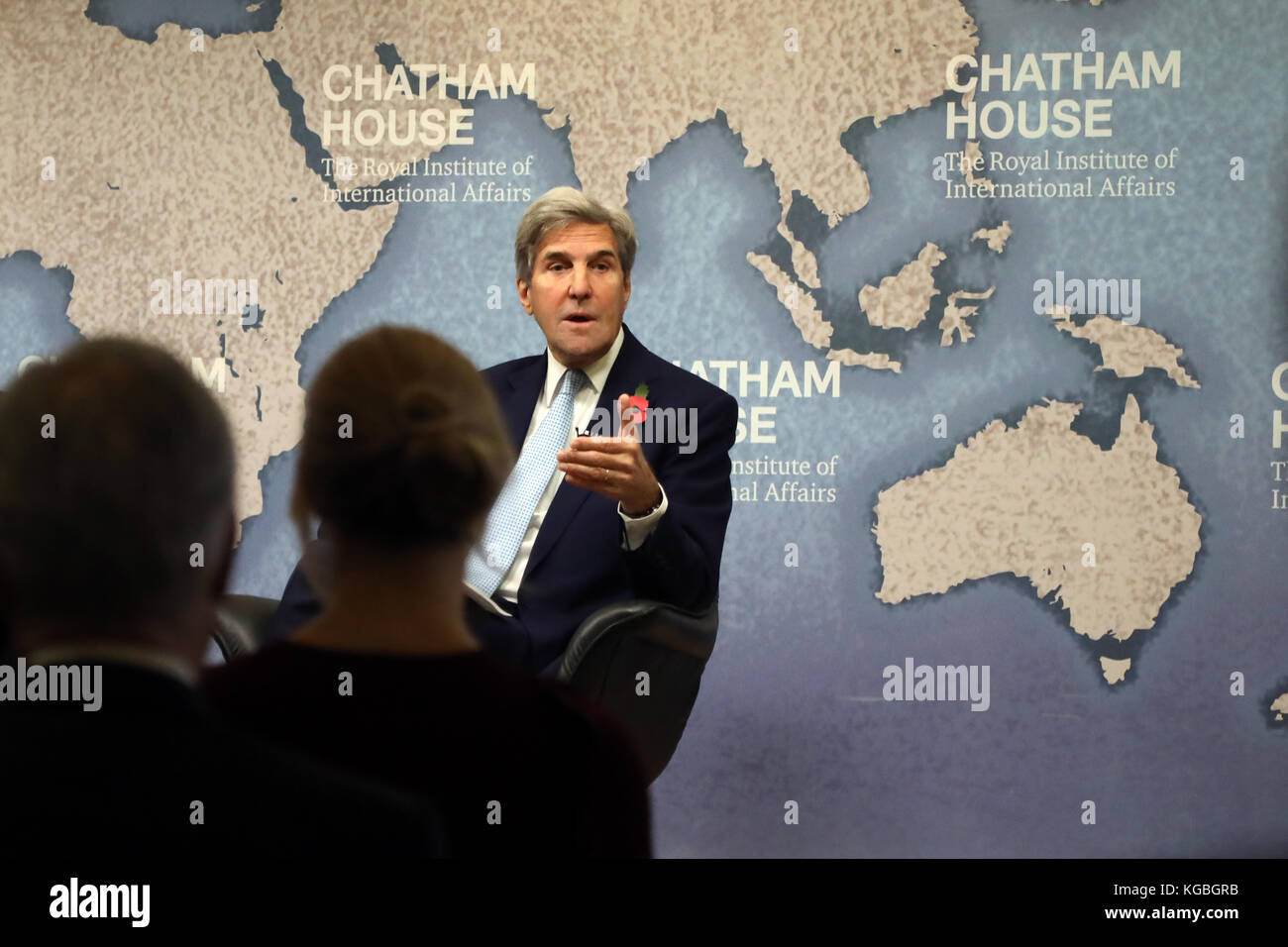 London, UK. 6th November, 2017. John Kerry, former US secretary of state, speaking about the Iranian nuclear deal Stock Photo