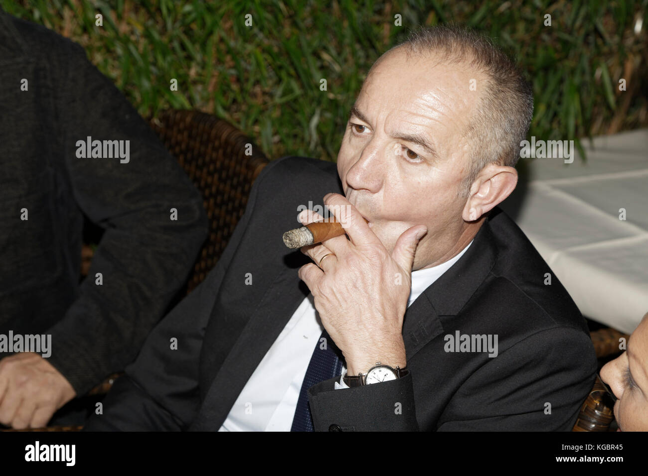 Paris, France. 6th Nov, 2017. Philippe Claudel attends the Prix Goncourt at the Drouan restaurant on November 6, - Stock Image