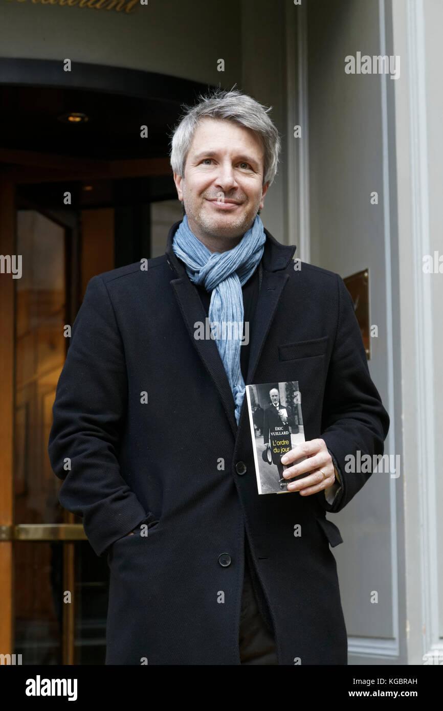 Paris, France. 6th Nov, 2017. Eric Vuillard winner of the Prix Goncourt for his novel 'L'Ordre du jour' - Stock Image