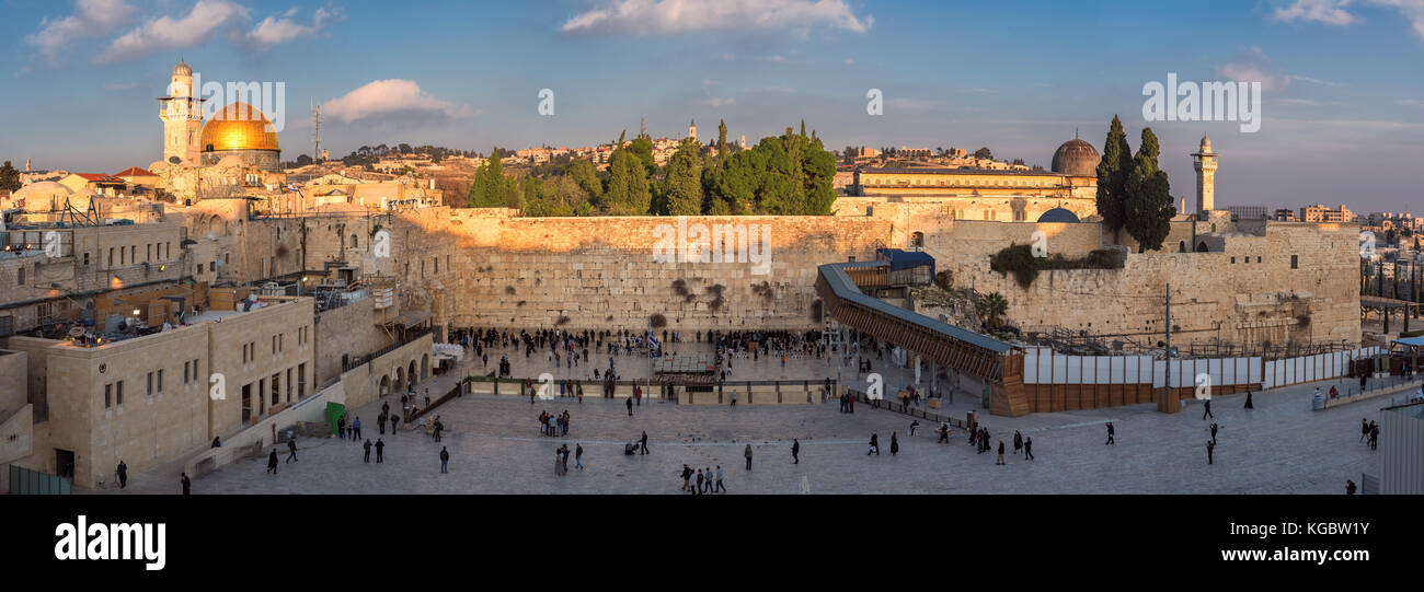 Panorama of Western Wall in Jerusalem Old City, Israel. - Stock Image