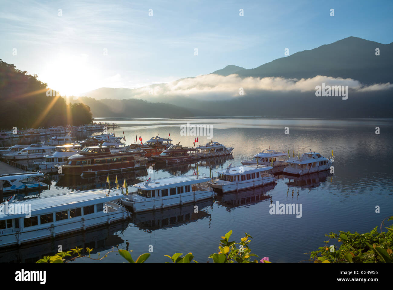 sunrise at sun moon lake in nantou, taiwan - Stock Image