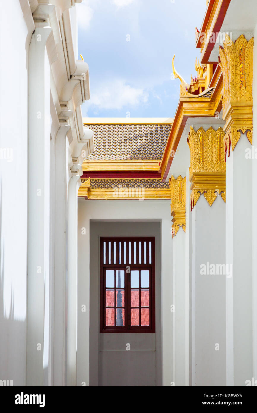 Bangkok, Thailand - September 10, 2016: Architectural details of Wat Benchamabophit also known as Marble Temple - Stock Image