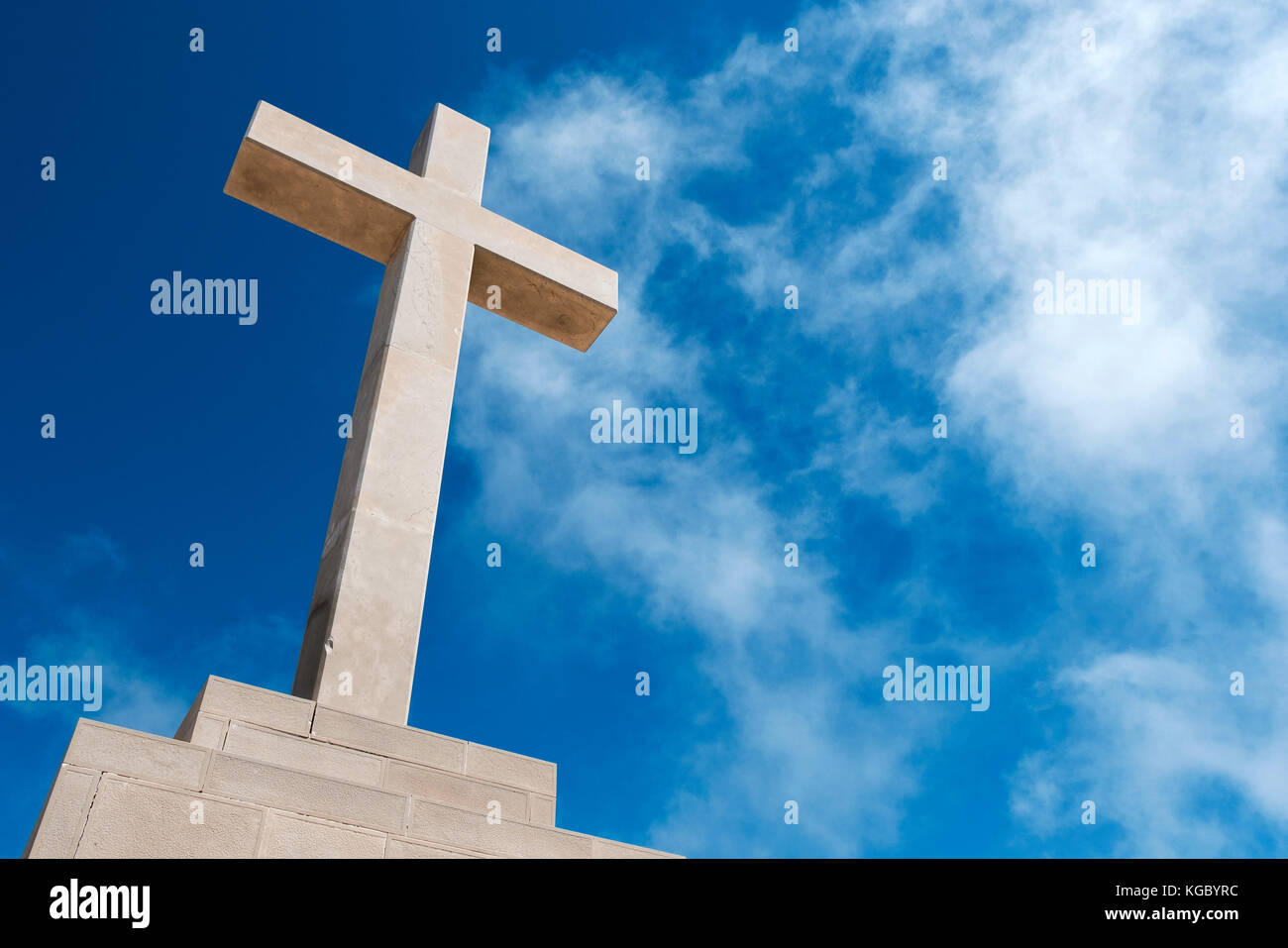 The white stone cross on Mount Srd which overlooks Dubrovnik and the Adriatic sea beyond, Croatia, Europe - Stock Image