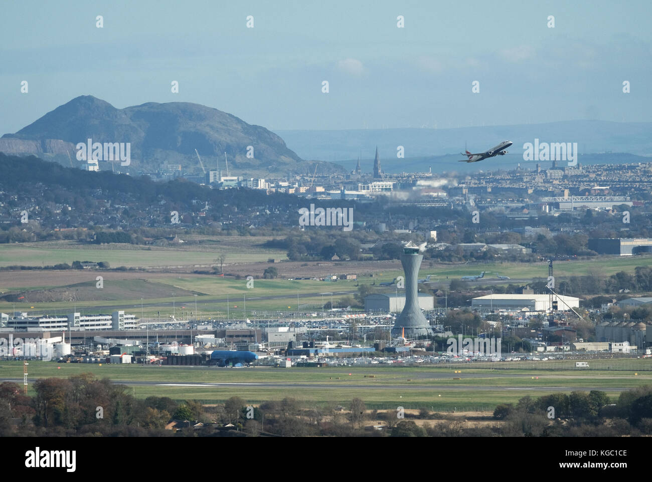 A British Airways aircraft takes off from Edinburgh Airport, Ingliston, Edinburgh. Stock Photo