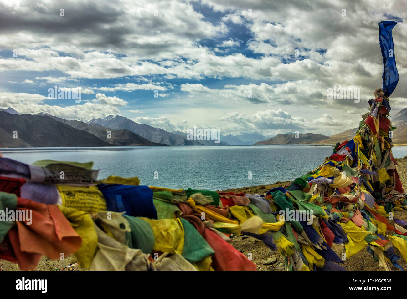 Pangong Tso, also referred to as Pangong Lake, is an endorheic lake in the Himalayas situated at a height of about Stock Photo