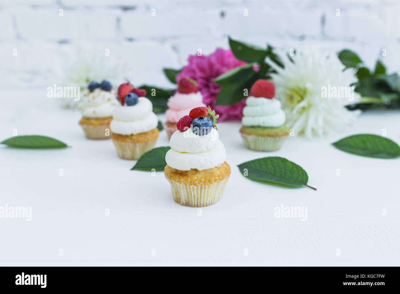 Various cupcakes with fresh berries flowers and leaves. White background. Stock Photo