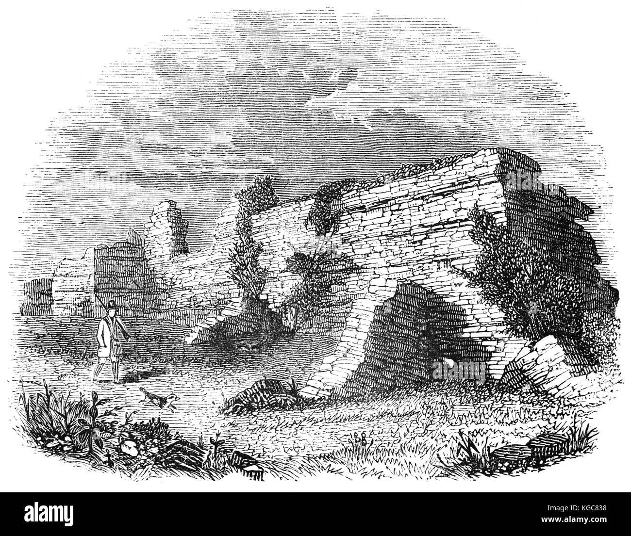 Huntsman and gun-dog passing the walled ruins of  Richborough Roman Fort, near Sandwich, Kent, England. Rutupiae - Stock Image