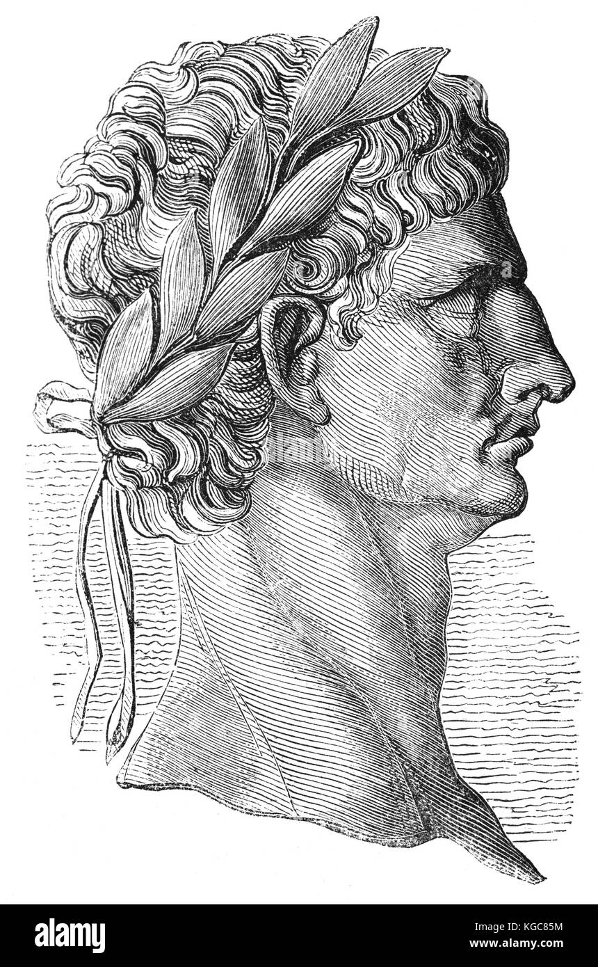 A copy of an engraving of Claudius,  Roman emperor from 41 to 54, from a coin in the British Museum. - Stock Image
