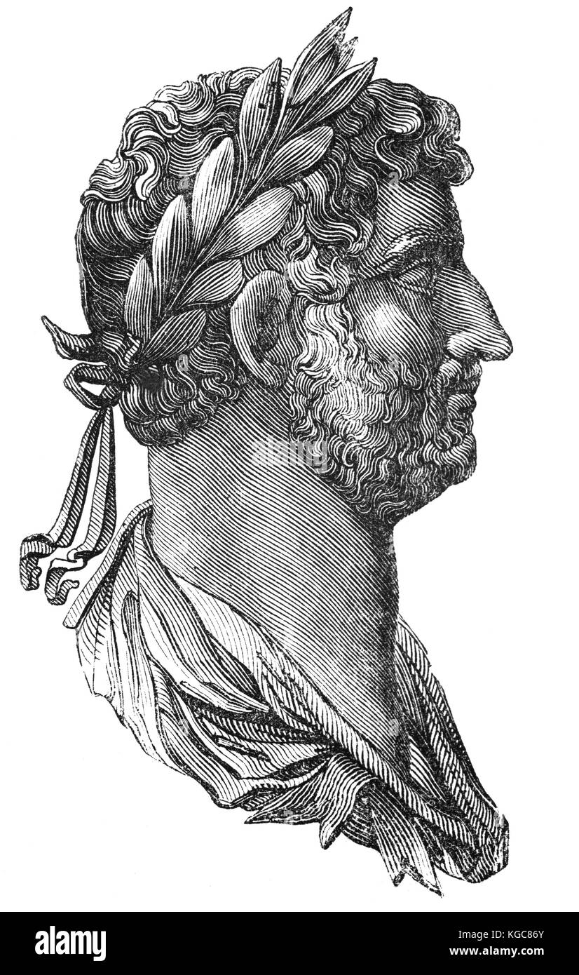 An engraving from a Roman coin of Hadrian (76 – 138),  emperor from 117 to 138. He is known for building Hadrian's - Stock Image