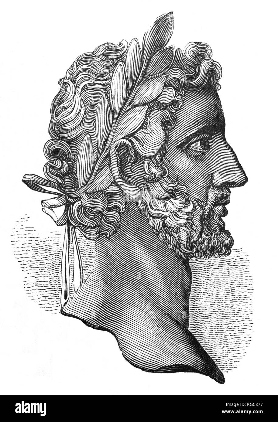 Antoninus Pius (86 –161), also known as Antoninus, was Roman emperor from 138 to 161. His adoptive father was the - Stock Image