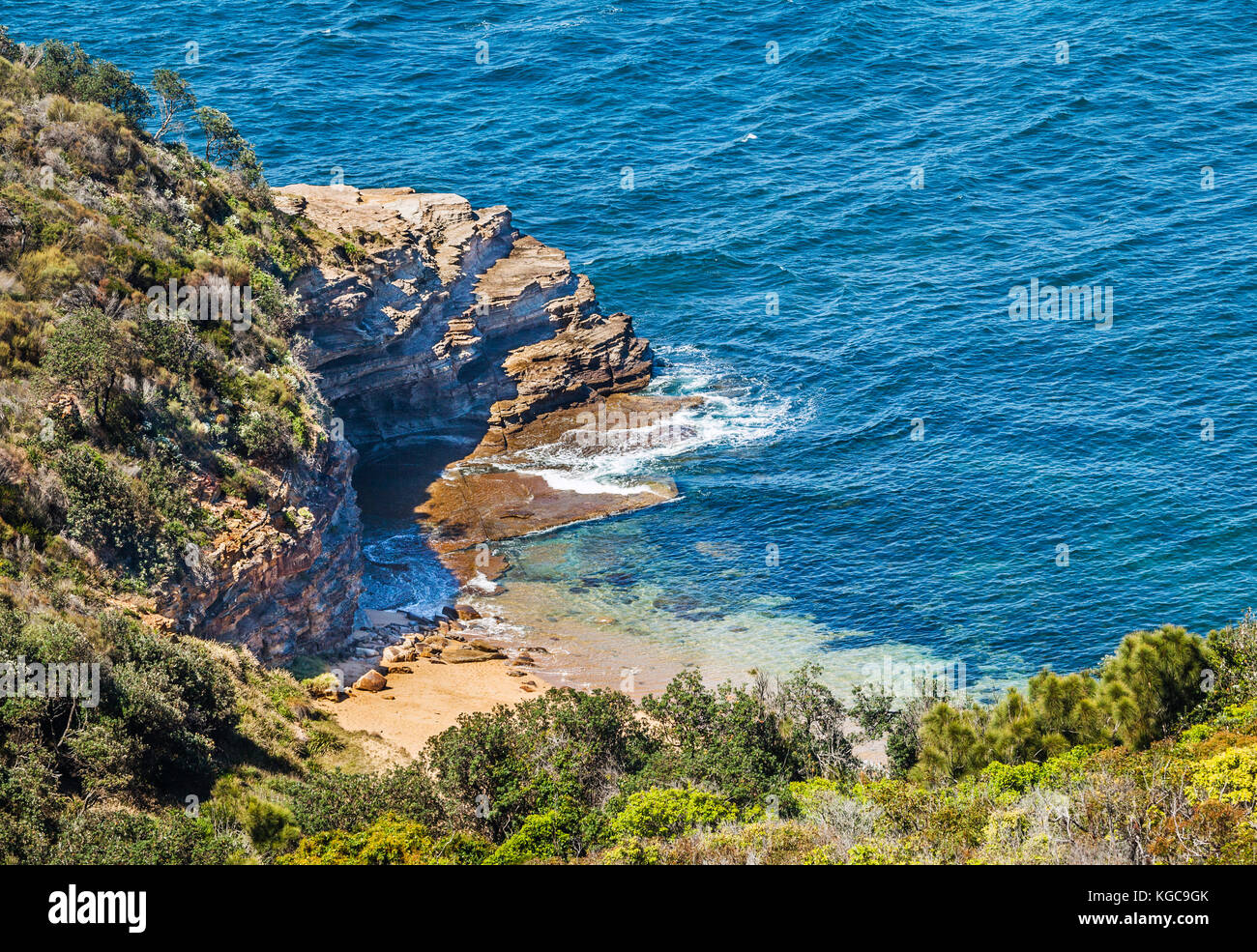 Australia, New South Wales, Central Coast, Bouddi National Park, view of secluded Bullimah Beach from Bullimah Lookout - Stock Image