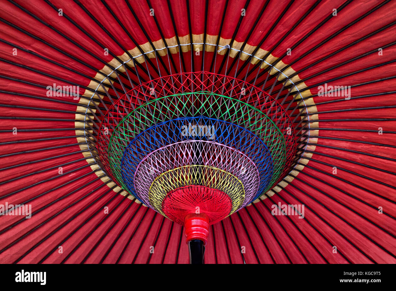 Details of a traditional colorful Japanese parasol - Stock Image