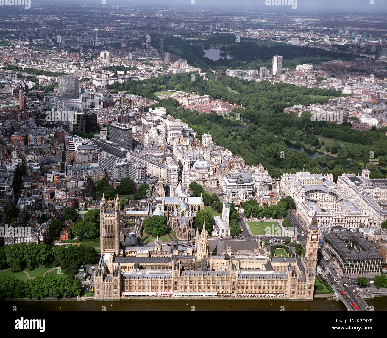 A aerial view of London showing the Houses of Parliament, Westminster Abbey, Buckingham Palace, Parliament Square, - Stock Image