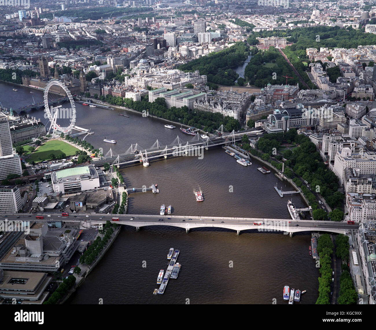 A aerial view of London showing the River Thames, , the Houses of Parliament, Big Ben, The London Eye, Charing Cross Stock Photo