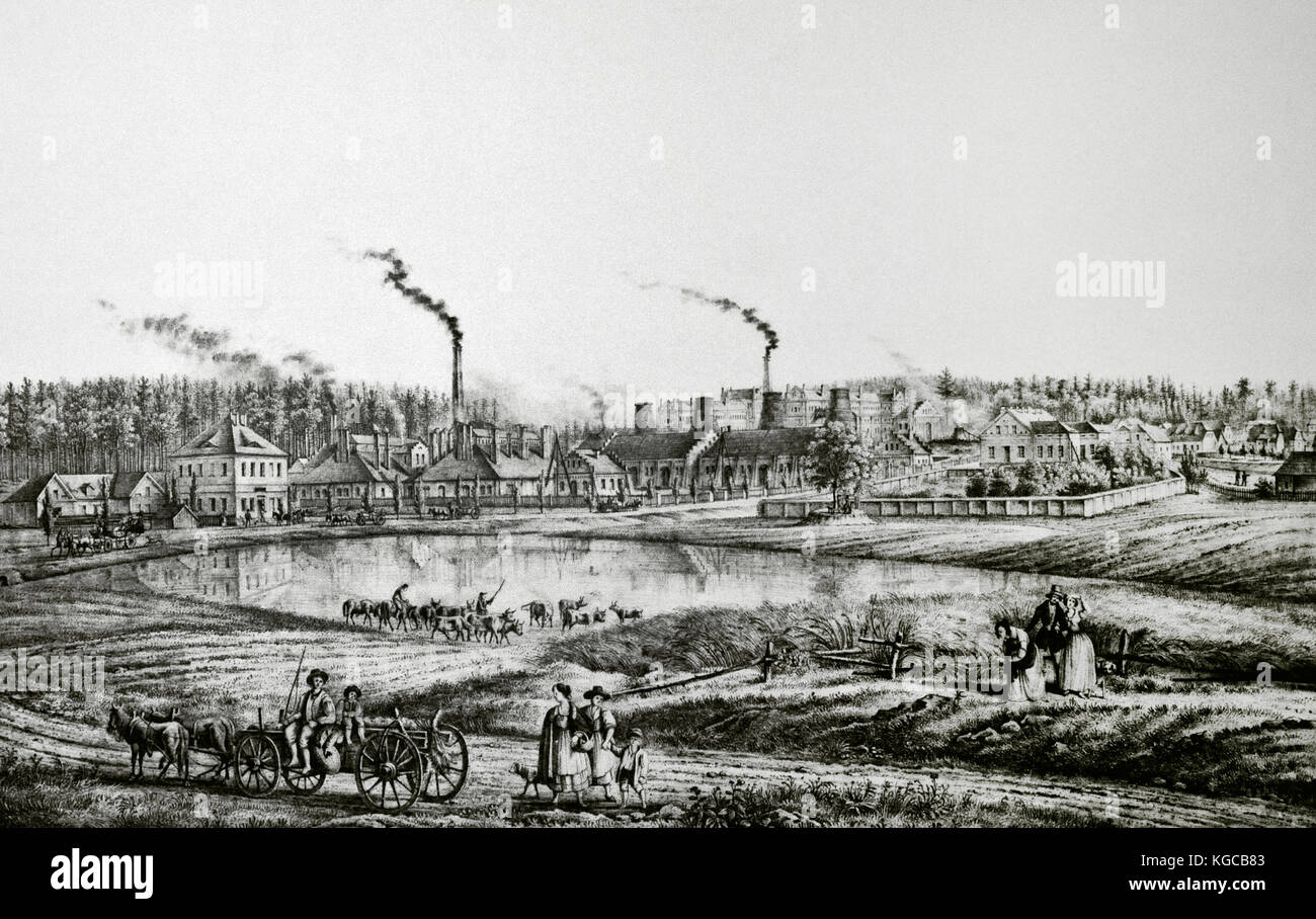 History of the mining. 19th century, Poland. Siemianowice. Laura Iron Mines. Panorama. Upper SIlesia. Engraving. - Stock Image