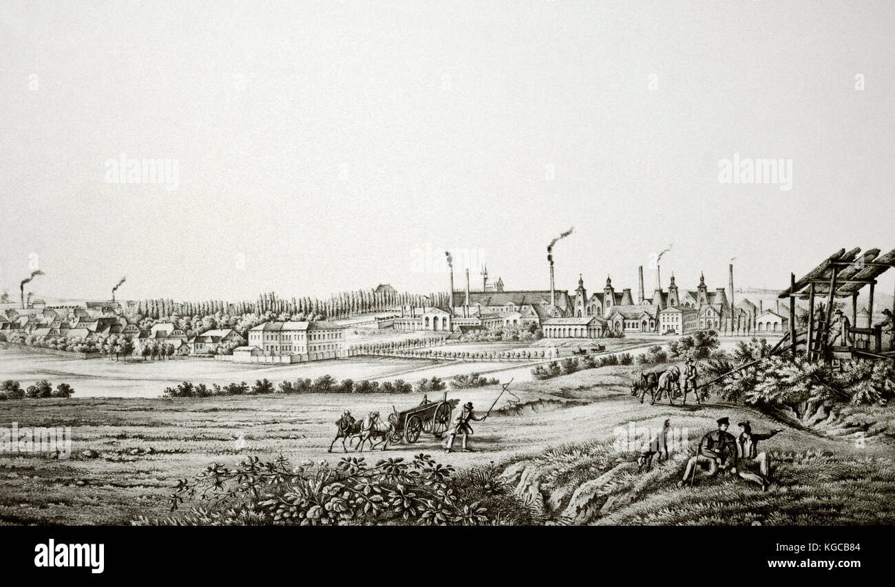 History of the Economy. 19th century. Poland. Chorzow. Panorama of the Royal Steelworks. Upper Silesia. Engraving. - Stock Image