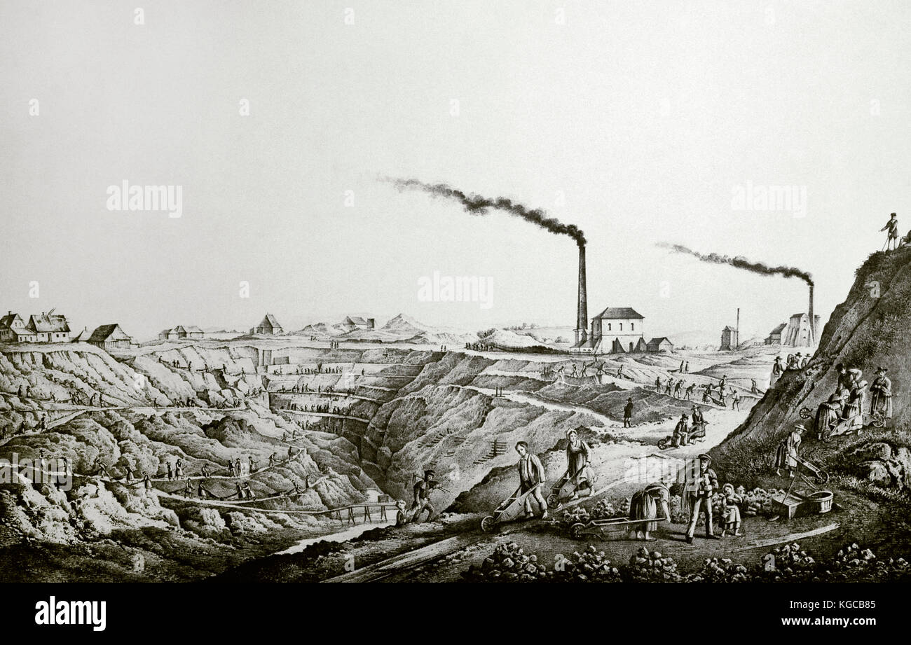 History of Mining. 19th century. Panorama of the Scharley zinc ore mine in the Bytom area. Silesia, Poland. Engraving. - Stock Image