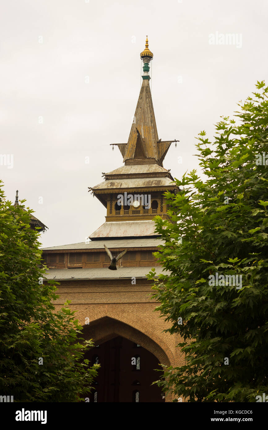 Jamia Masjid is a mosque in Srinagar, Jammu & Kashmir, India. The Jamia Masjid of Srinagar is situated at Nowhatta Stock Photo