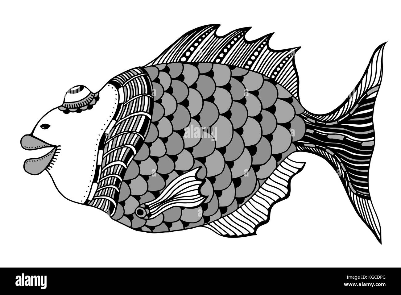 hand drawn fish, vector doodle illustration. Motive of sea life - Stock Image