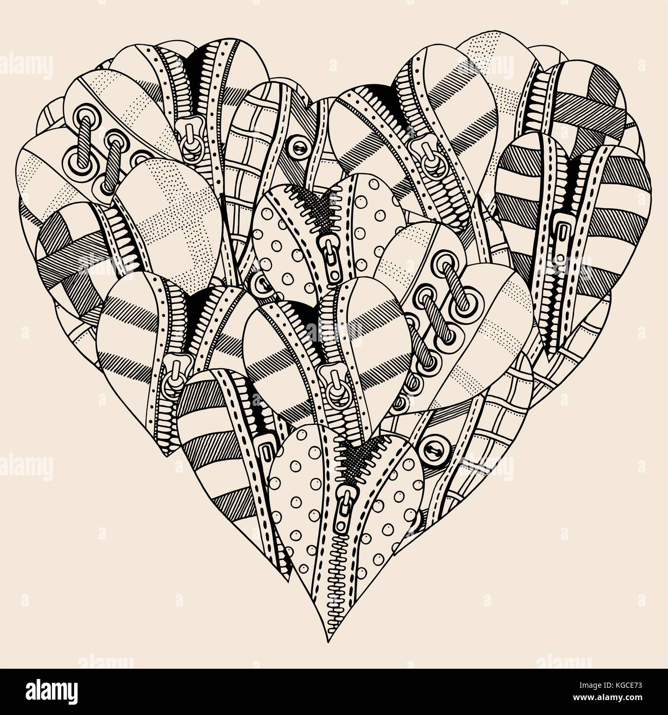 big heart of small hand drawn hearts background for valentines day KGCE73