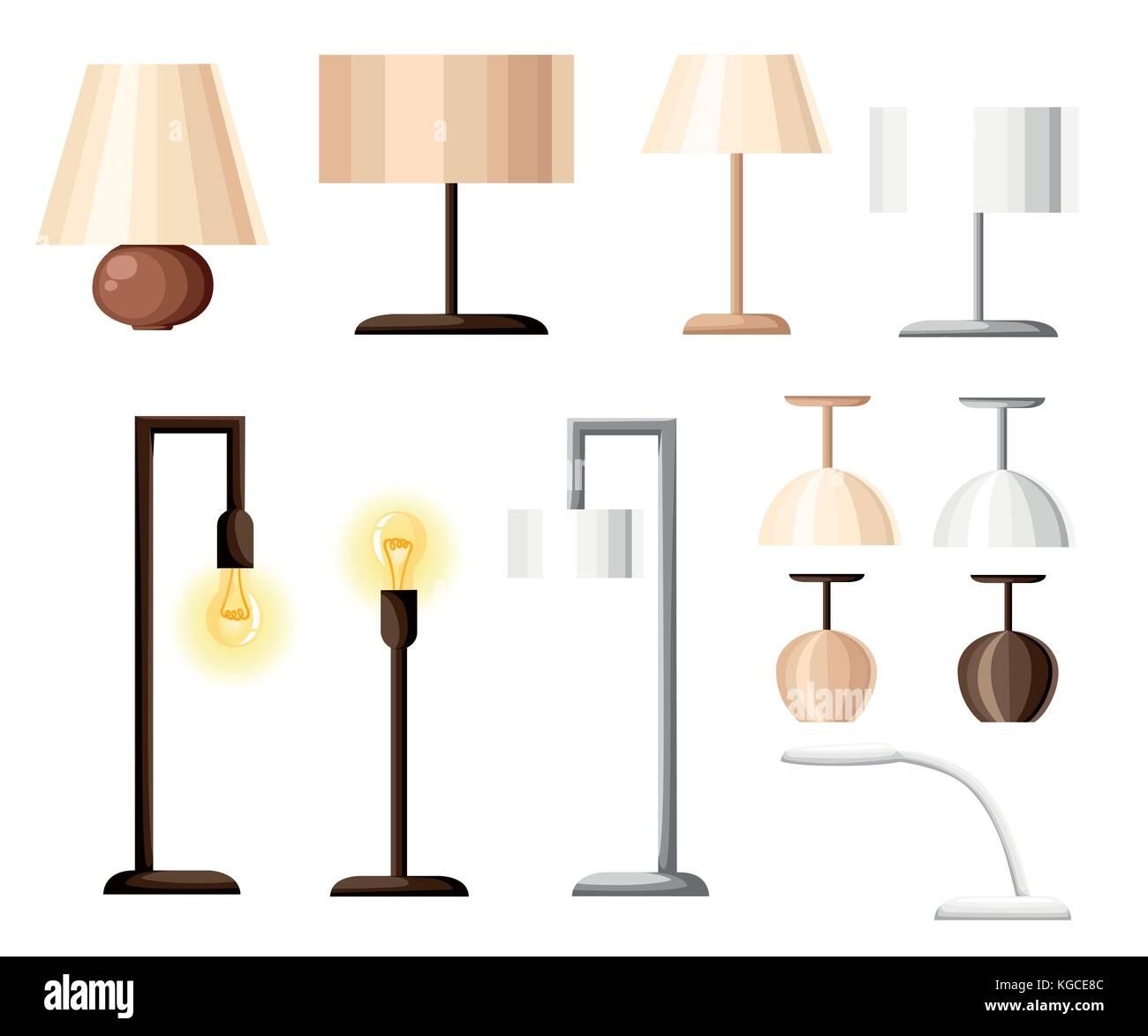 Vector set of different types of indoor lighting: pendant, ceiling ...