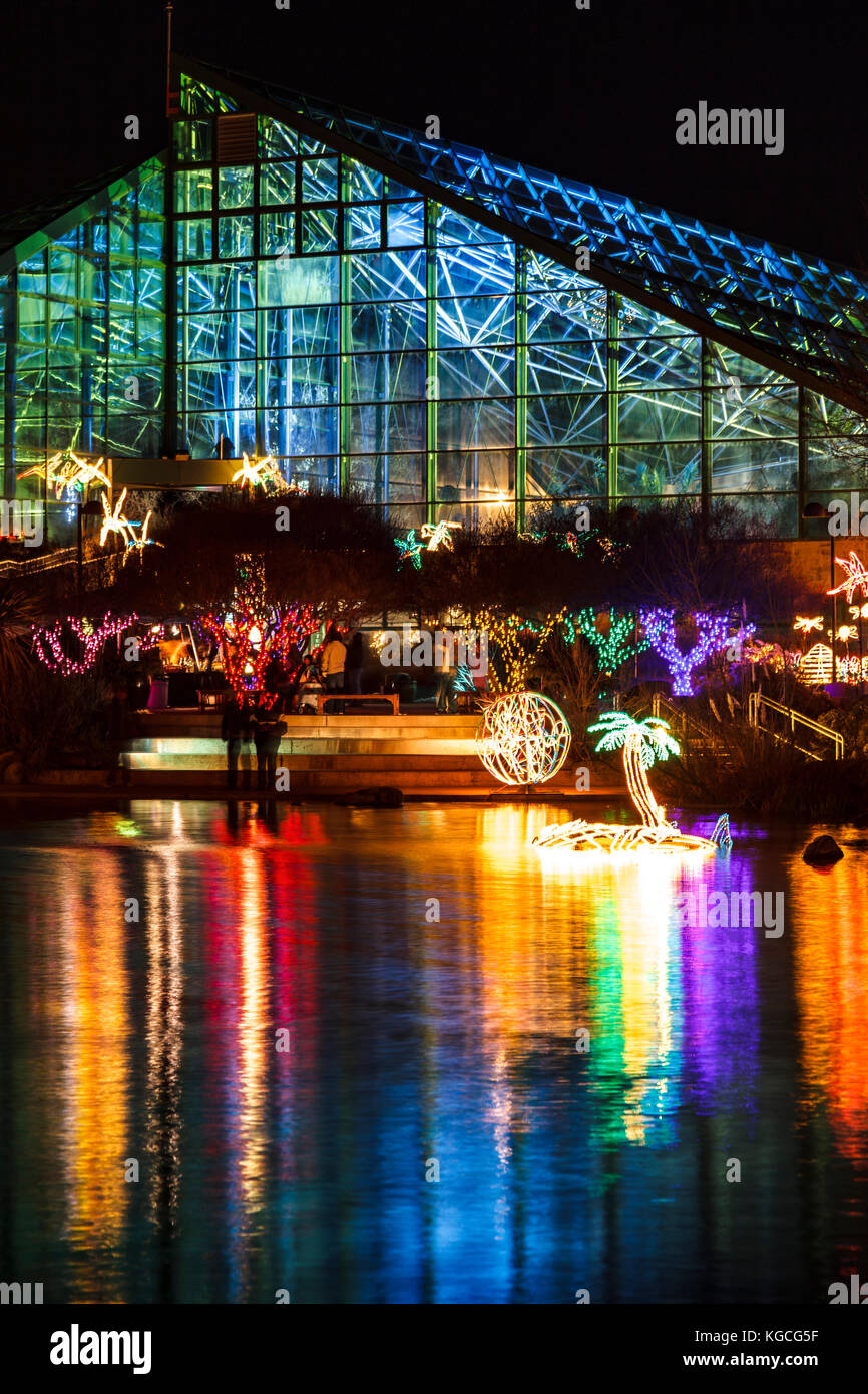 Christmas lights and pond reflections, River of Lights, Rio Grande Botanic Garden, Albuquerque, New Mexico USA - Stock Image