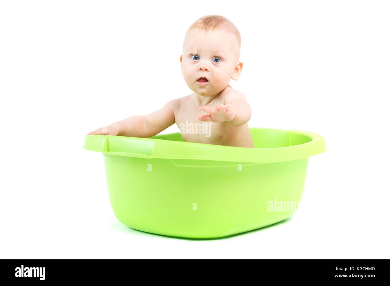 happy cute baby boy take bath in green tub Stock Photo: 165005133 ...
