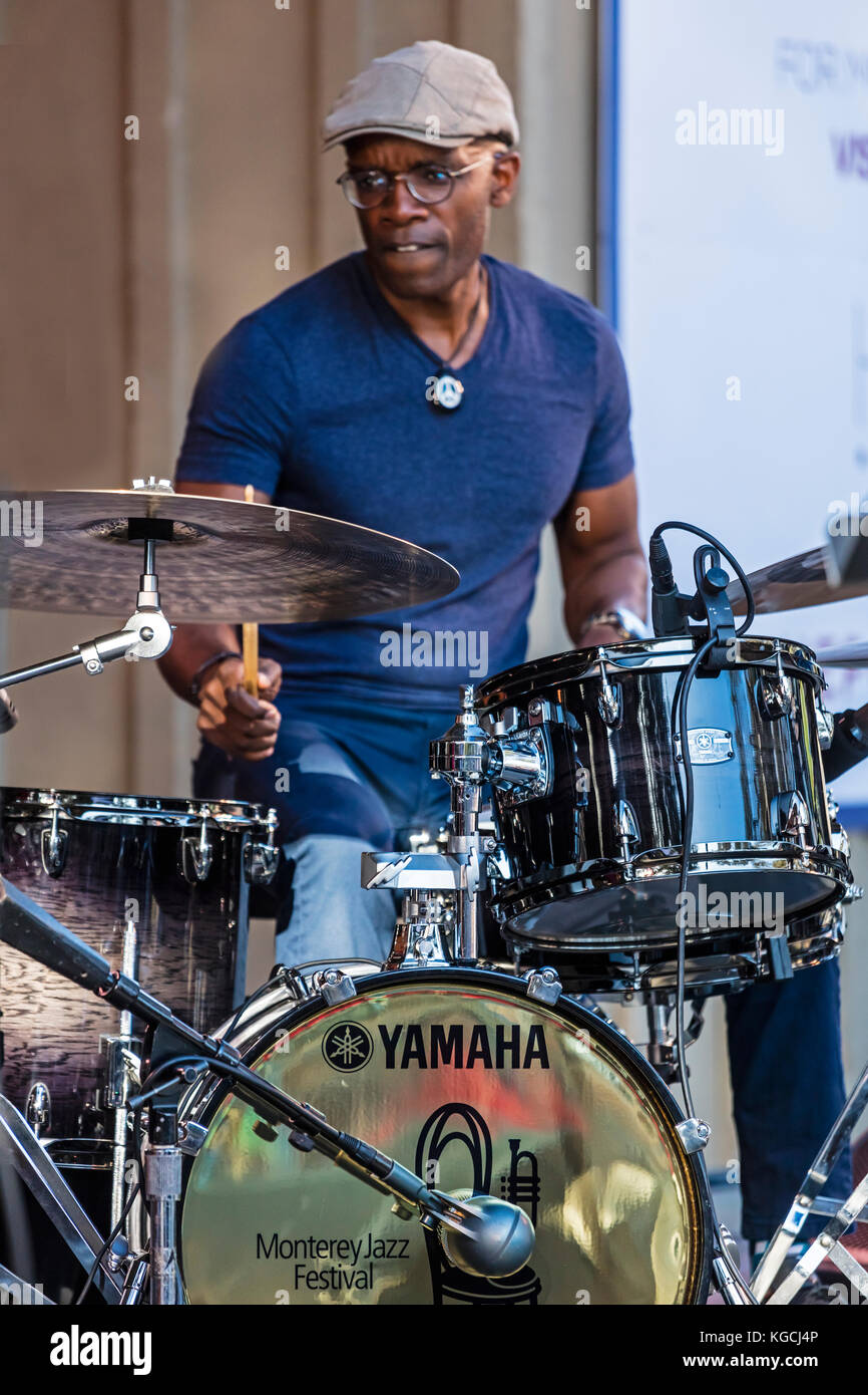 RUDY ROYSTON plays drums for THE LINDA MAY HAN OH QUINTET - 60th MONTEREY JAZZ FESTIVAL, CALIFORNIA - Stock Image