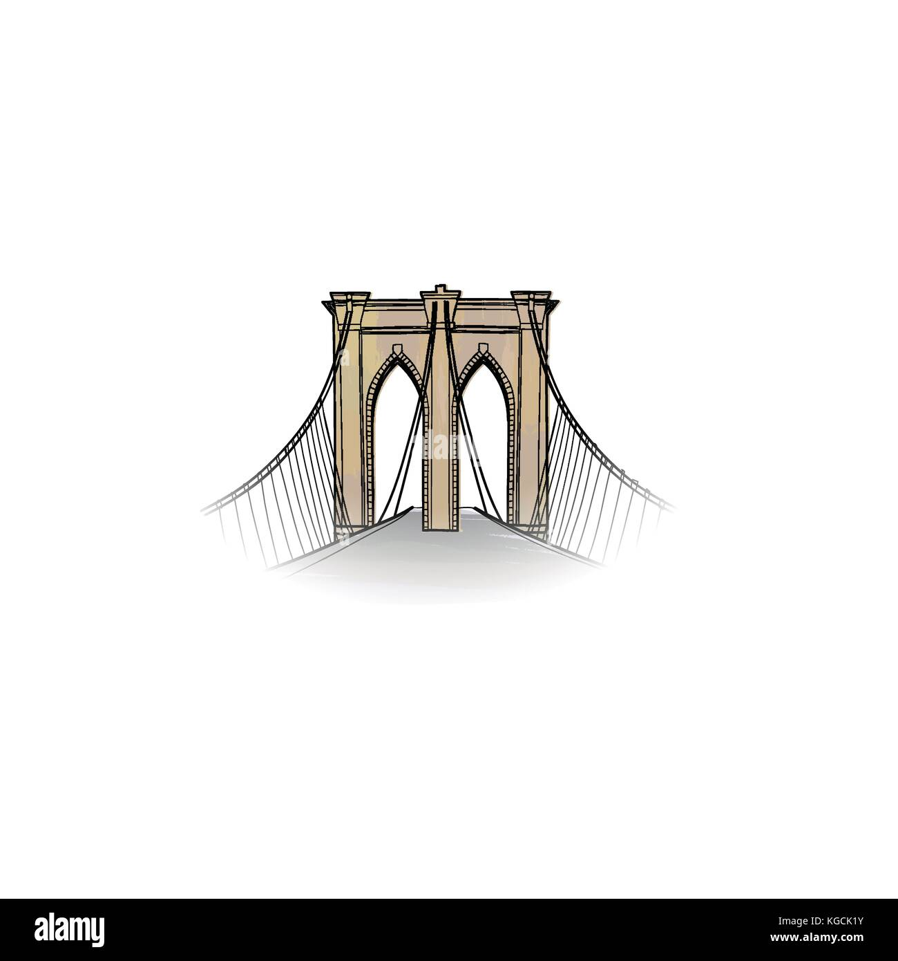 New-York city sign. Travel NYC icon. American landmark Brooklyn bridge view - Stock Vector