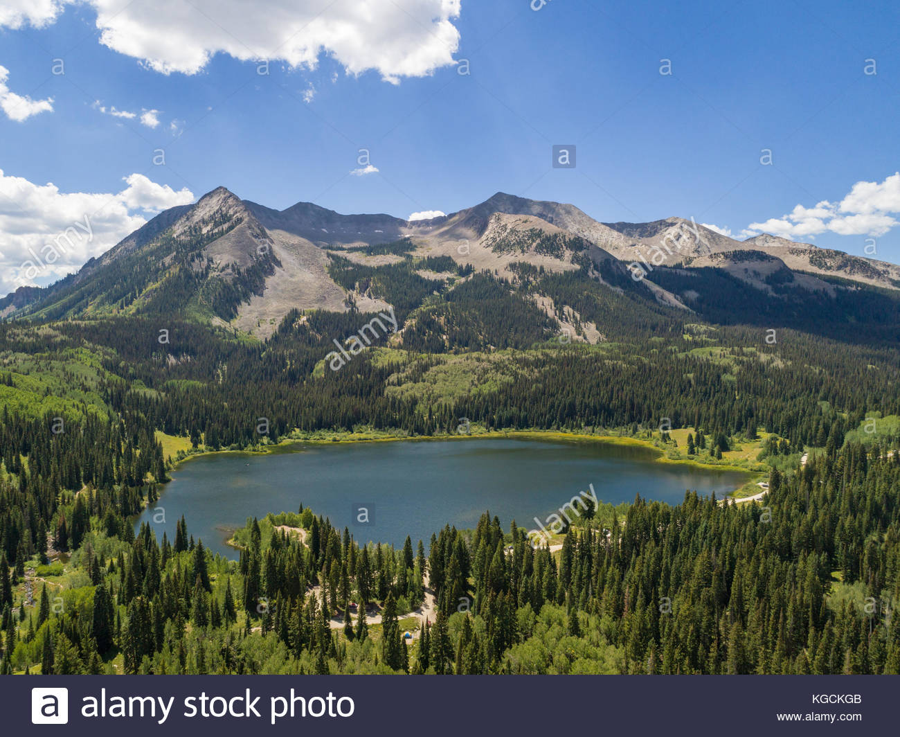 Aerial view of popular Lost Lake Slough and West Beckwith Mountain along the West Elk Loop in western Colorado. Stock Photo