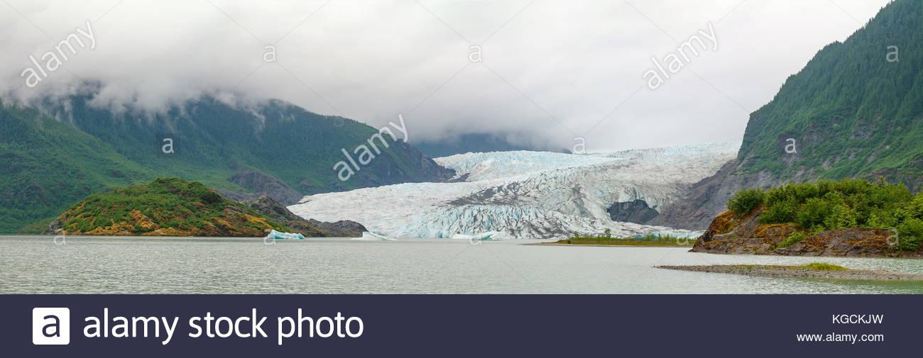 Panoramic view of the Mendenhall Glacier near Juneau, Alaska. - Stock Image
