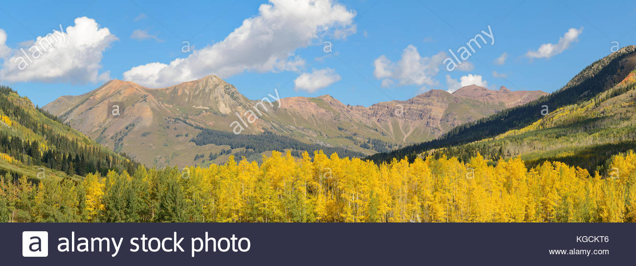Mount Bellview from Gothic, Colorado on a brilliant fall day. - Stock Image