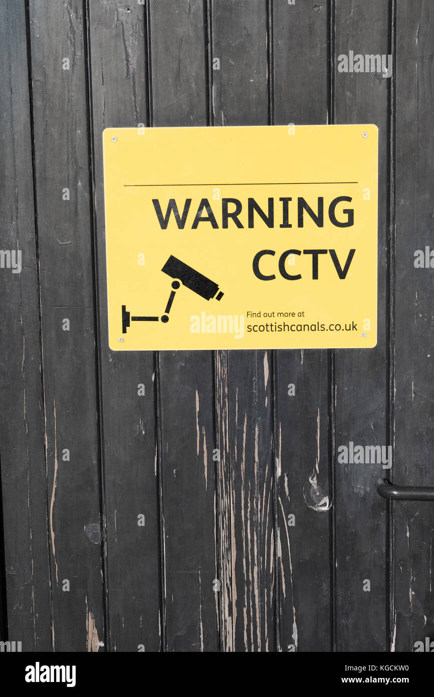 Warning CCTV In Operation Sign On Private Property - Stock Image