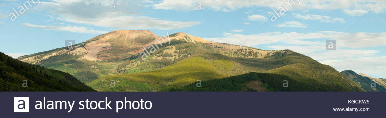 Mount Emmons also known as The Red Lady in western Colorado near Crested Butte on a summer morning. - Stock Image