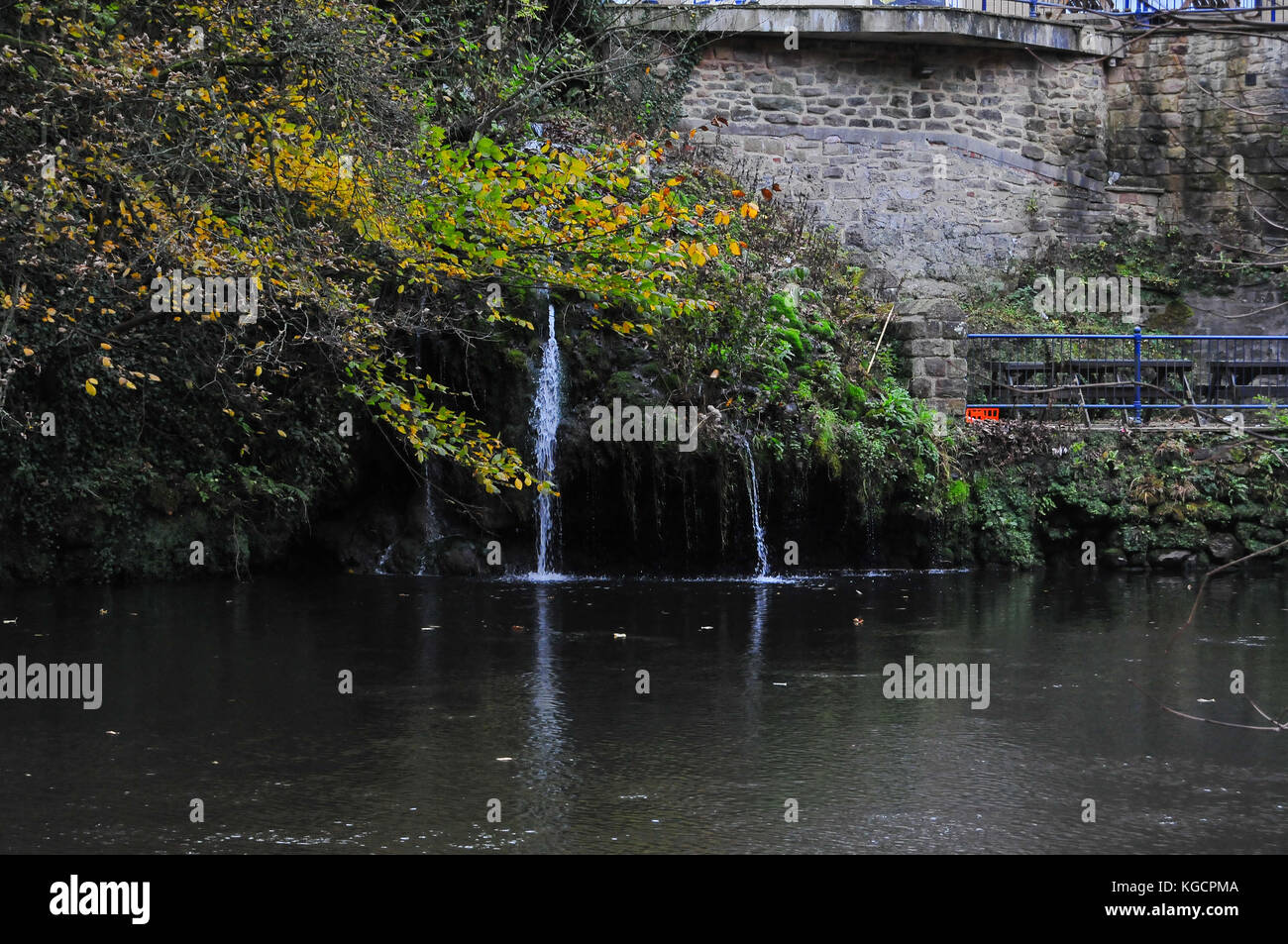 Garden waterfall Matlock Bath - Stock Image