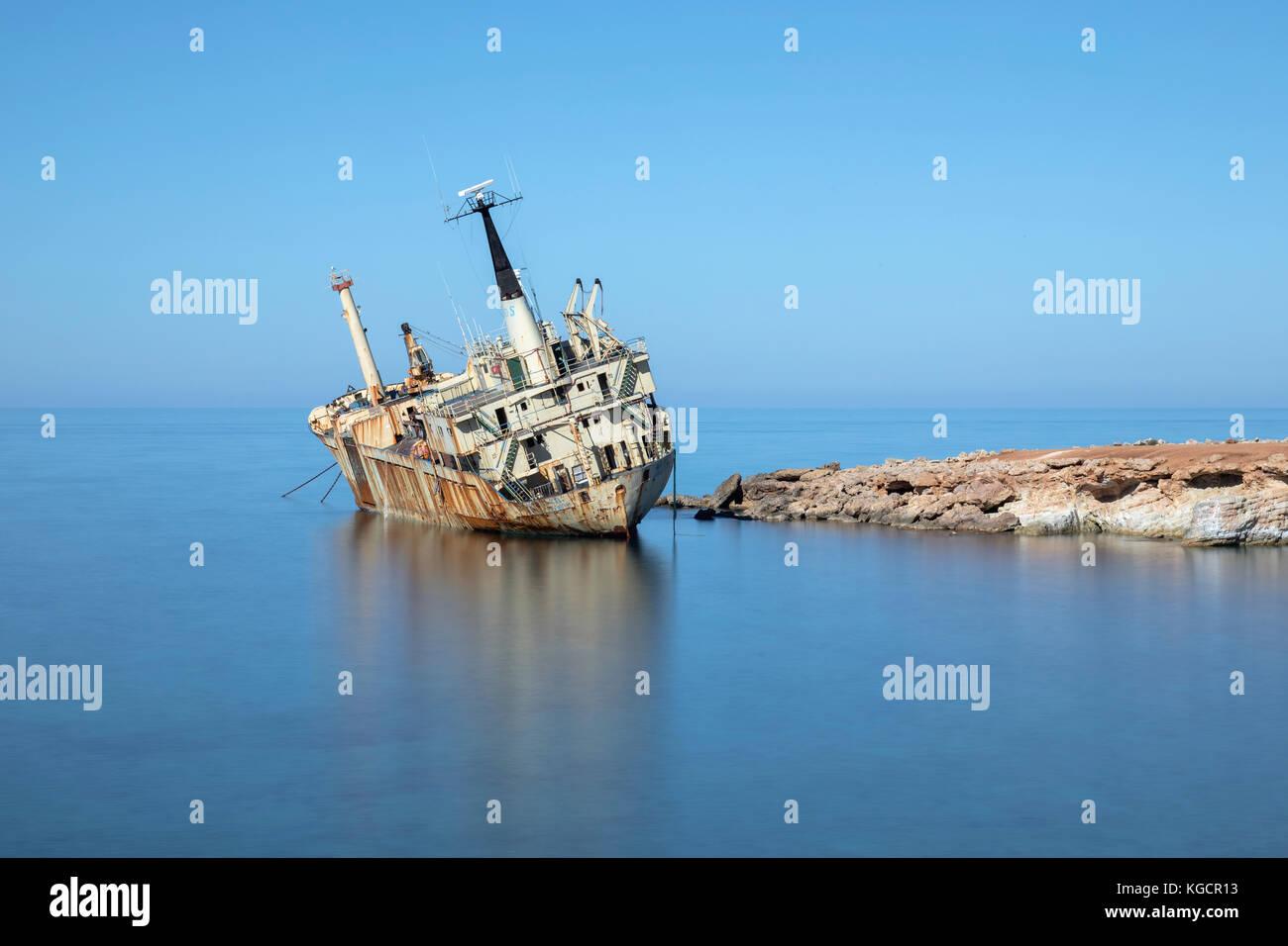 Edro III shipwreck, Pegeia, Paphos, Cyprus - Stock Image