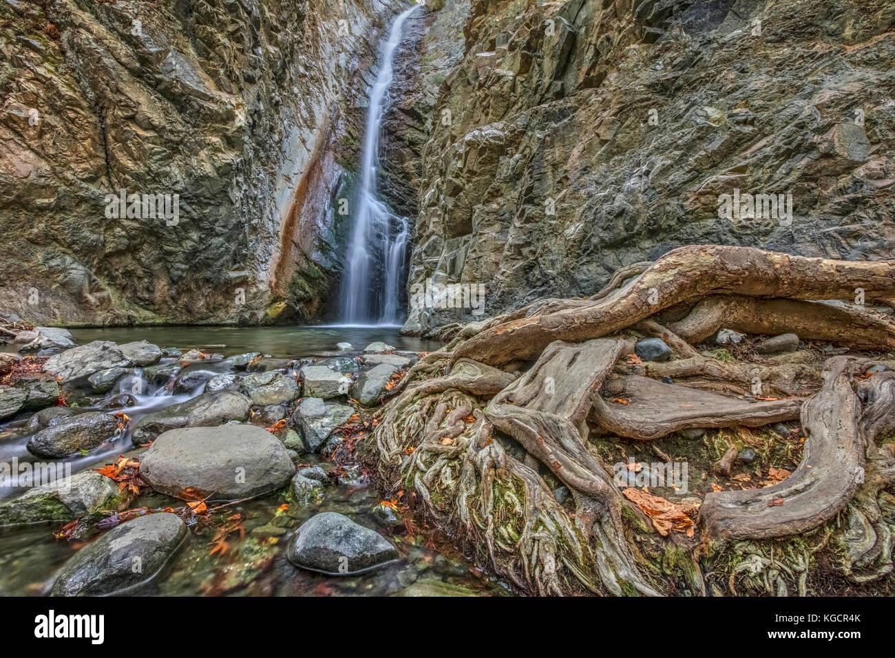 Millomeris Waterfall, Pano Platres, Limassol, Cyprus - Stock Image