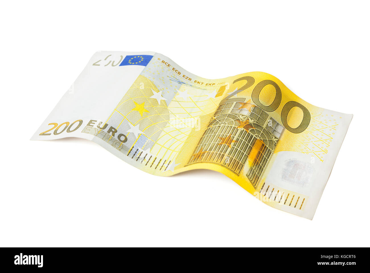 Two-hundred Euros bill arranged in wave shape isolated on white background - Stock Image