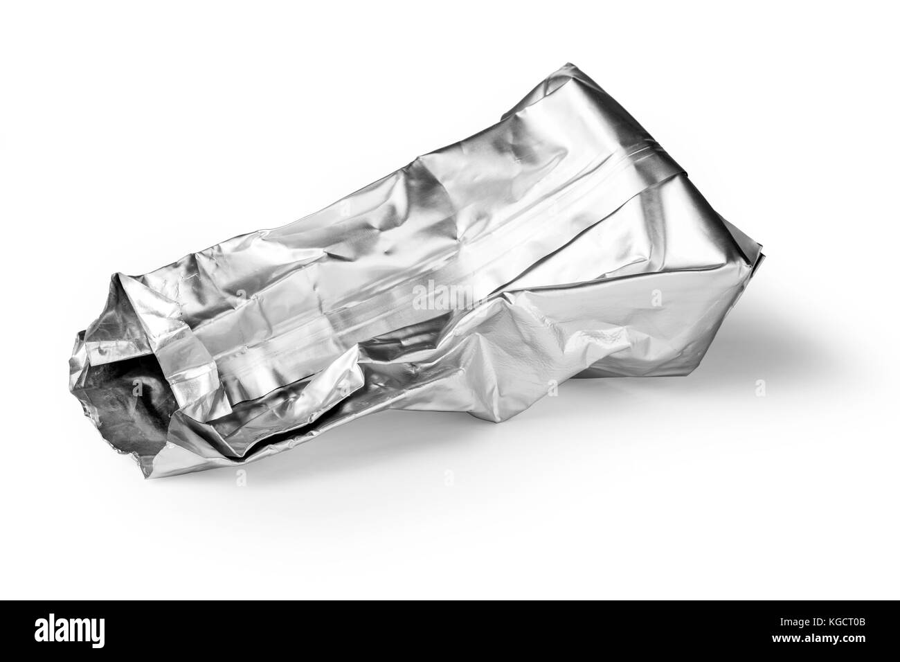 crumpled packaging isolated on white background with clipping path - Stock Image
