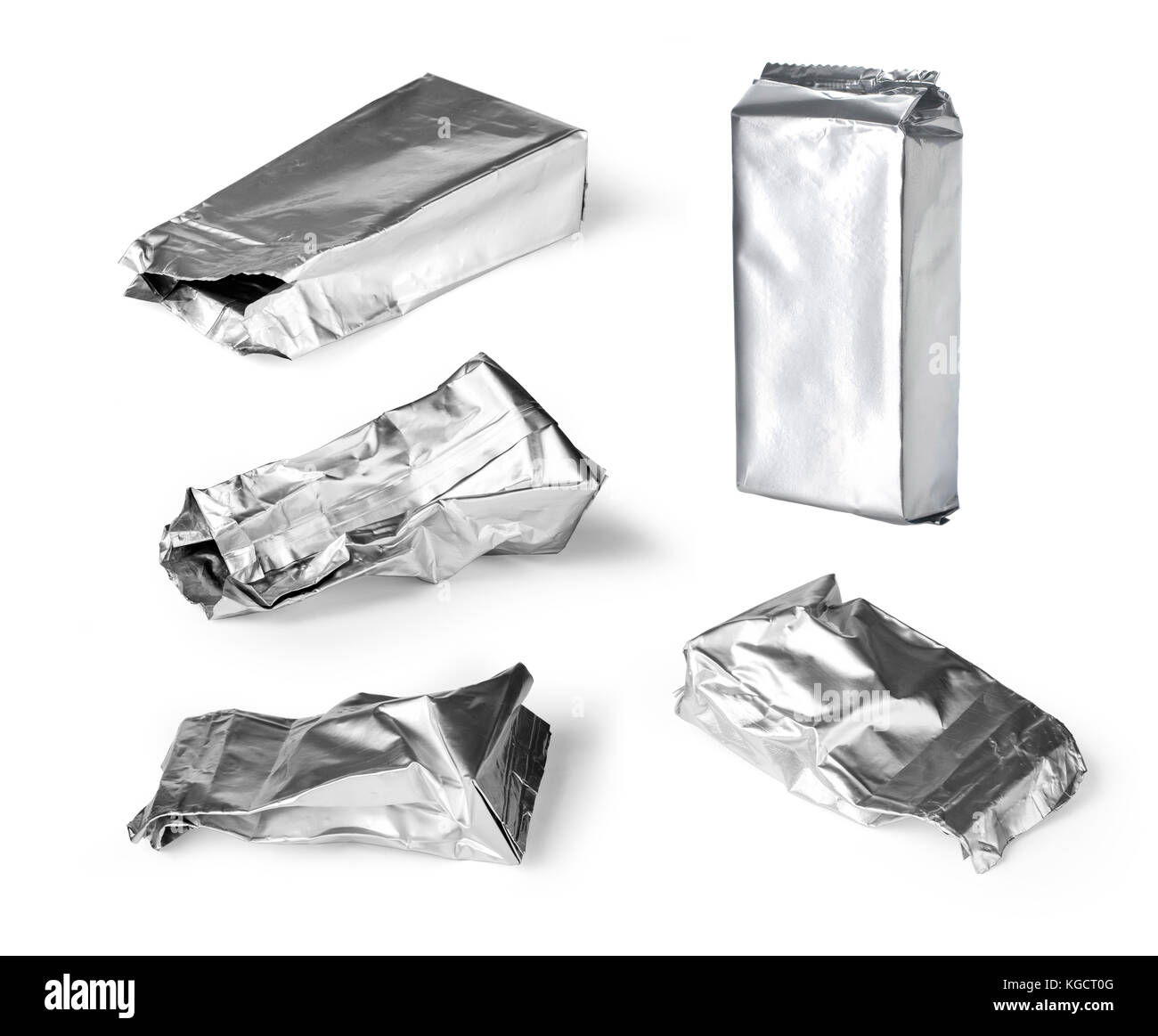 crumpled packaging isolated on white background - Stock Image